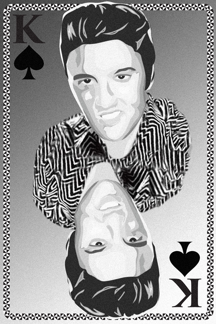 Elvis the king playing card